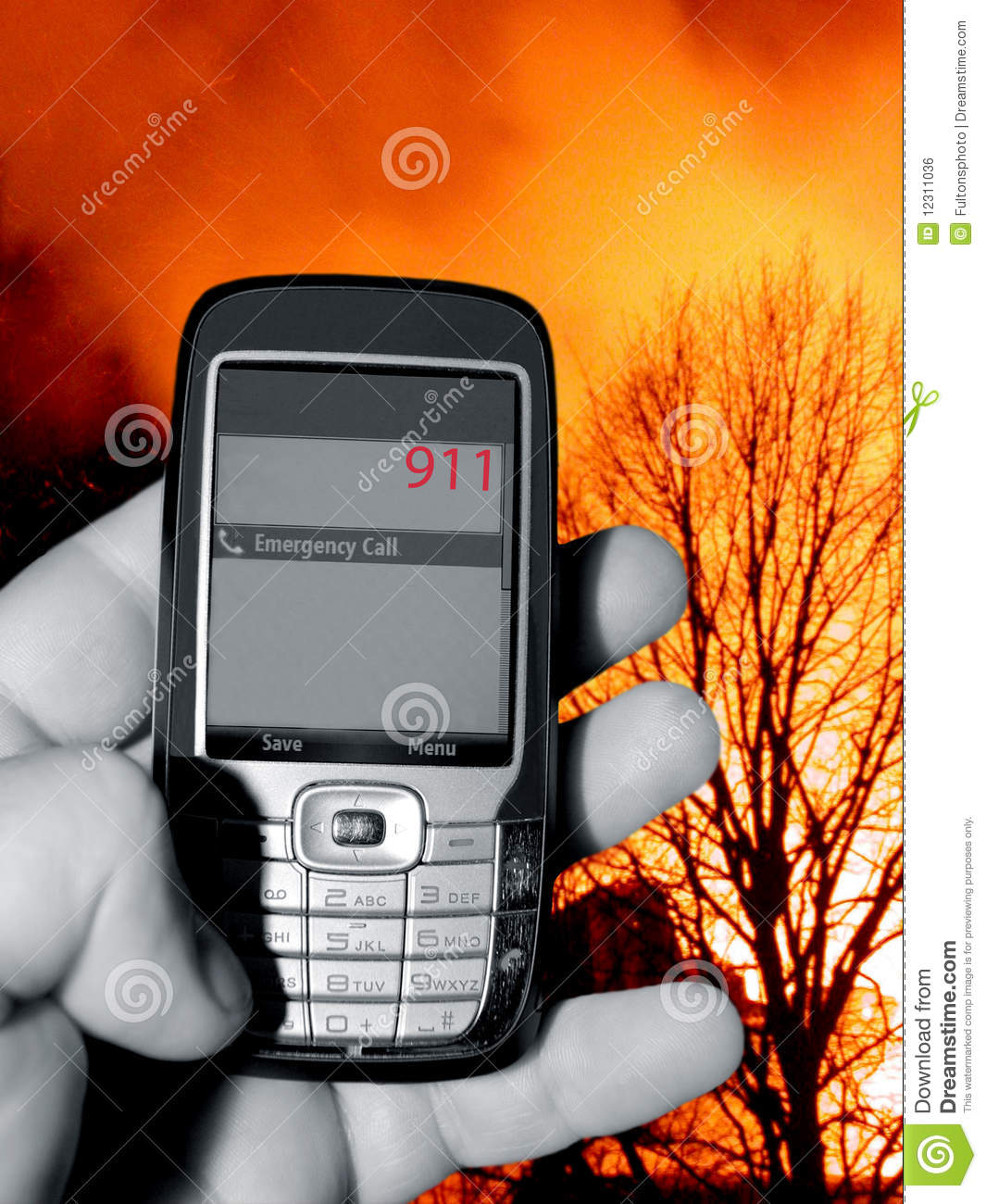 911 Emergency Telephone Call Stock Photo