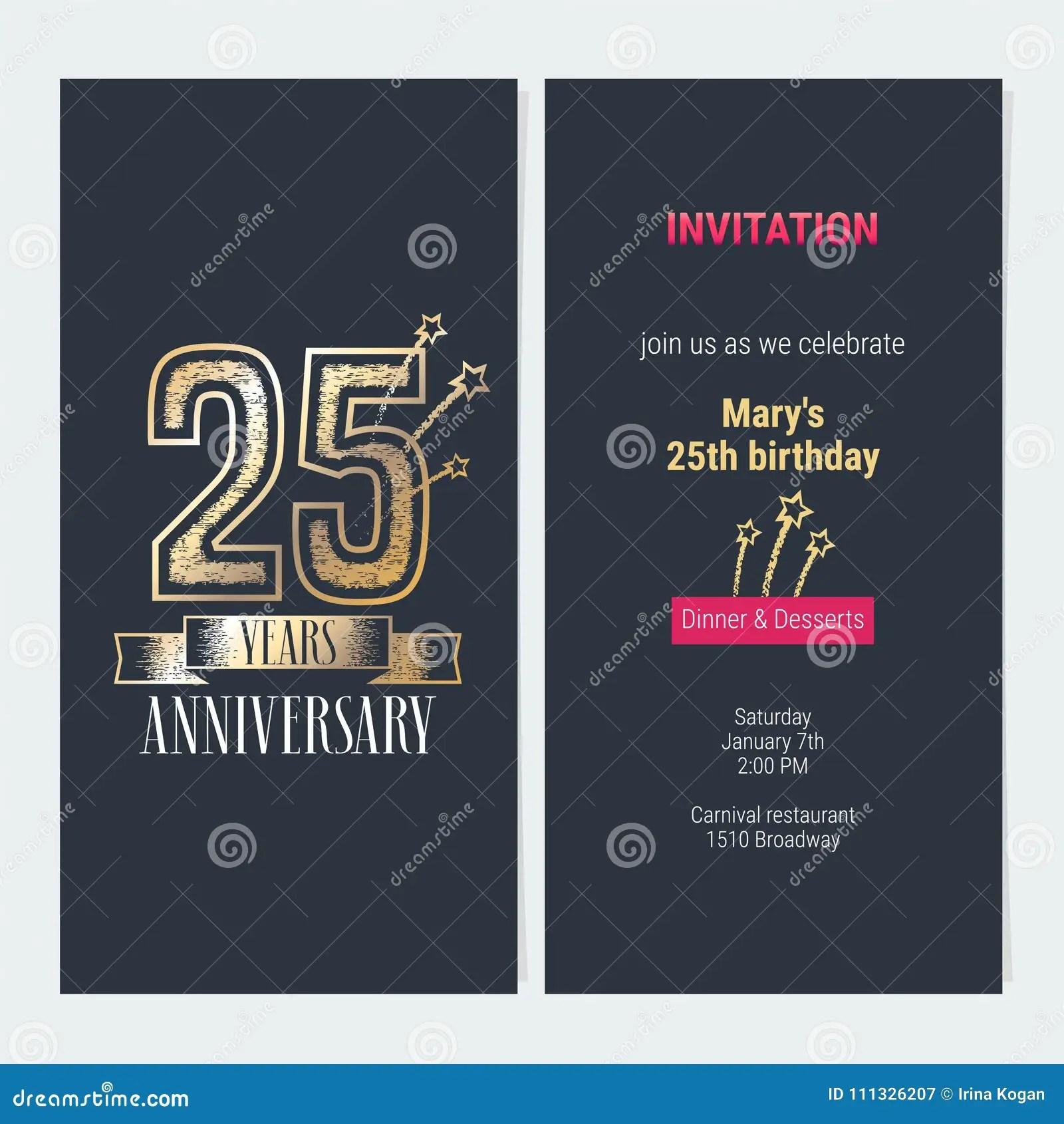 25 Anos Del Aniversario De Vector De La Invitacion Ilustracion Del Vector