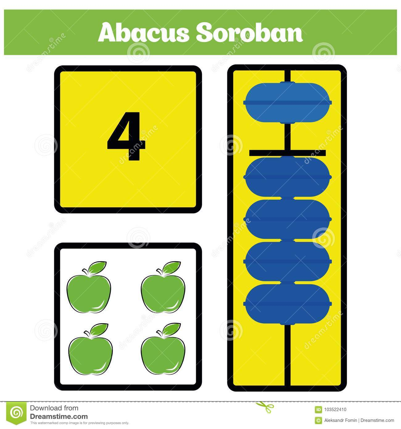 Abacus Soroban Kids Learn Numbers With Abacus Math Worksheet For Children Stock Illustration