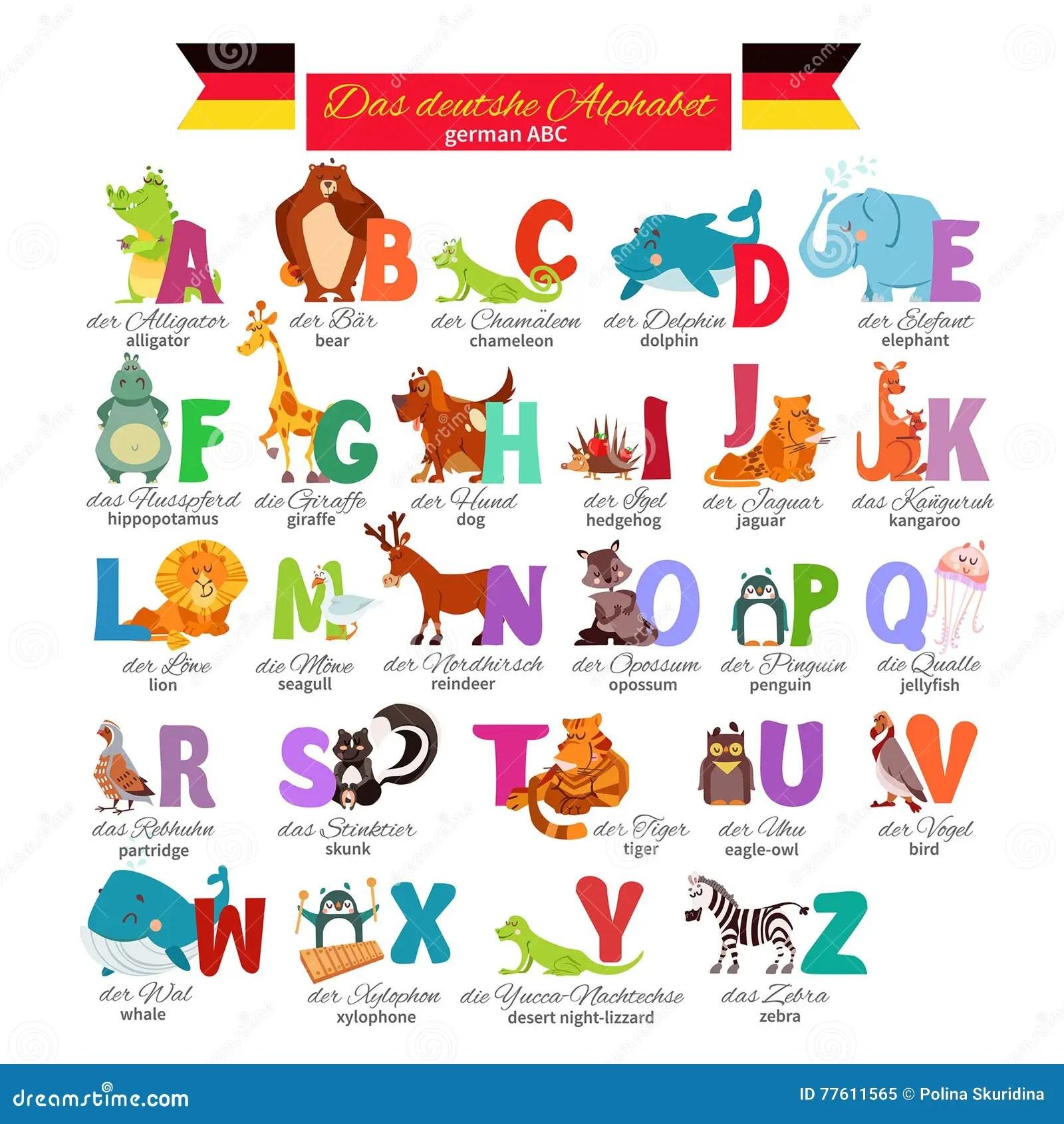 Abc Allemand Pour L Education Prescolaire Illustration De