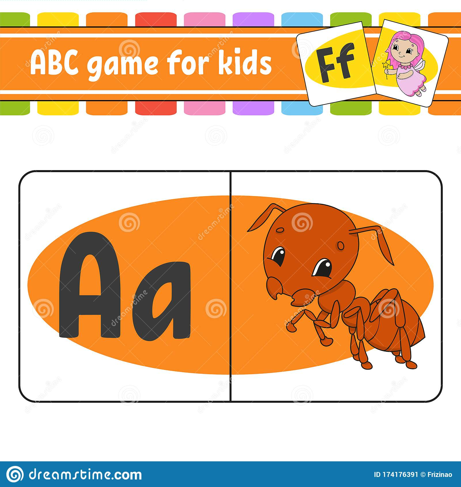 Abc Flash Cards Alphabet For Kids Insect Ant Learning