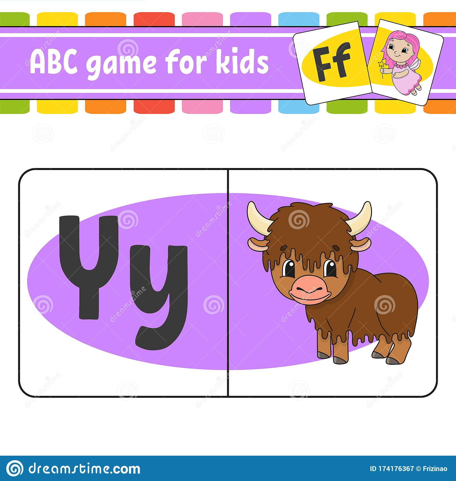 Abc Flash Cards Animal Yak Alphabet For Kids Learning