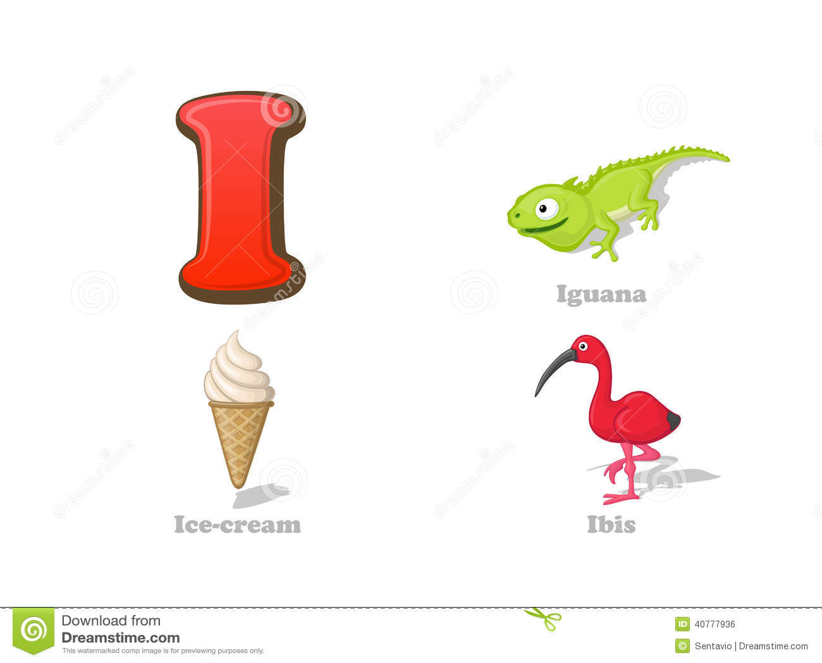 Abc Letter I Funny Kid Icons Set Iguana Ice Cream Ibis