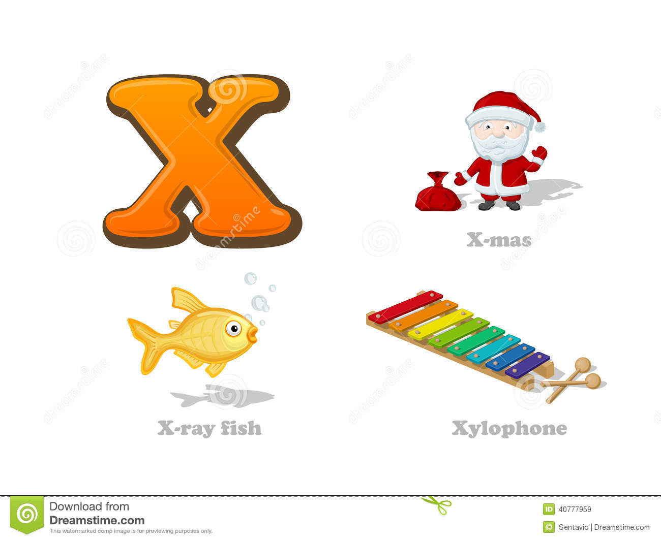 Abc Letter X Funny Kid Icons Set X Mas X Ray Fish