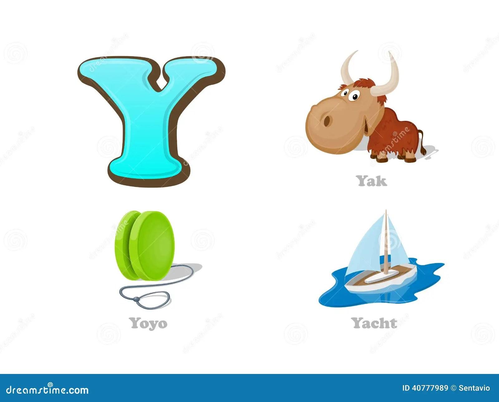 Abc Letter Y Funny Kid Icons Set Yak Yo Yo Yacht Stock
