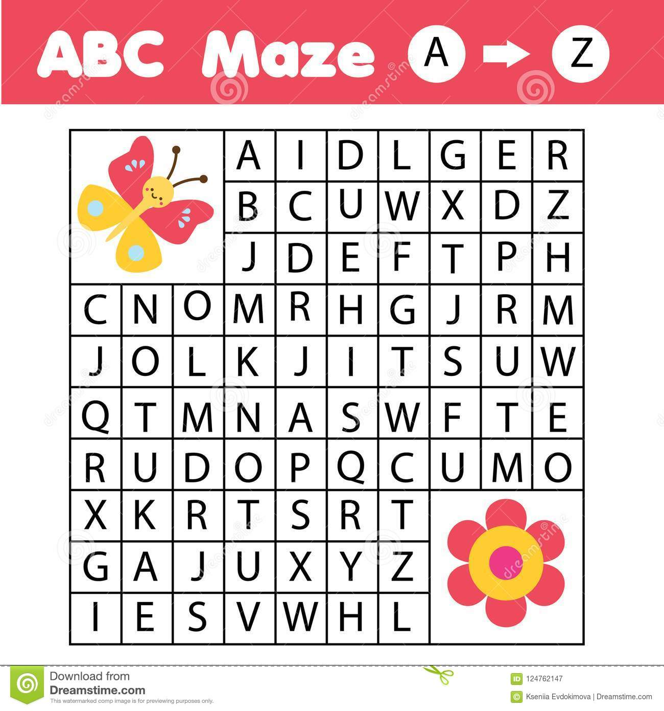 Abc Maze Game Animals Theme Help Butterfly Find Flower