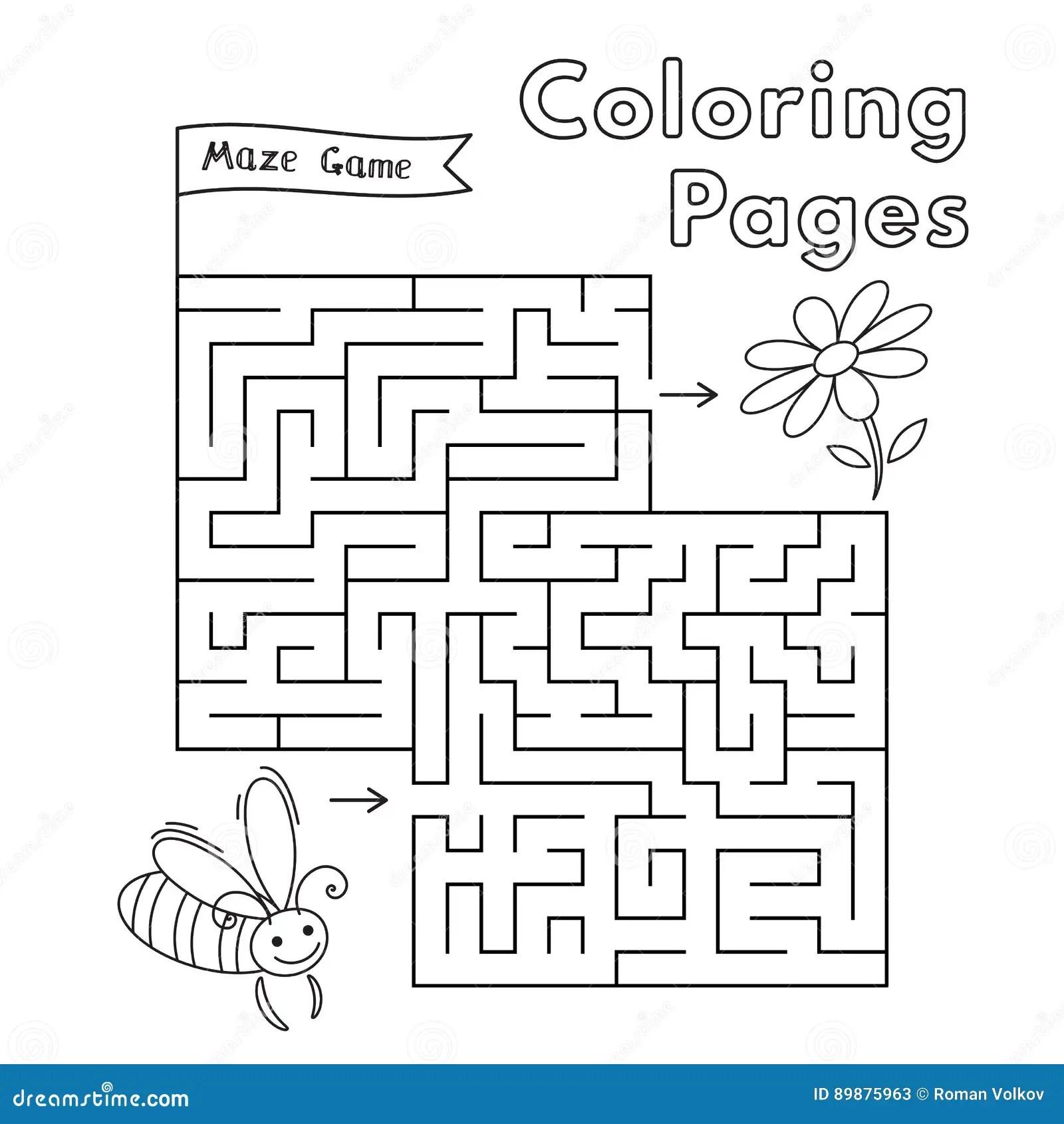 Abeja Maze Game De La Historieta Ilustracion Del Vector