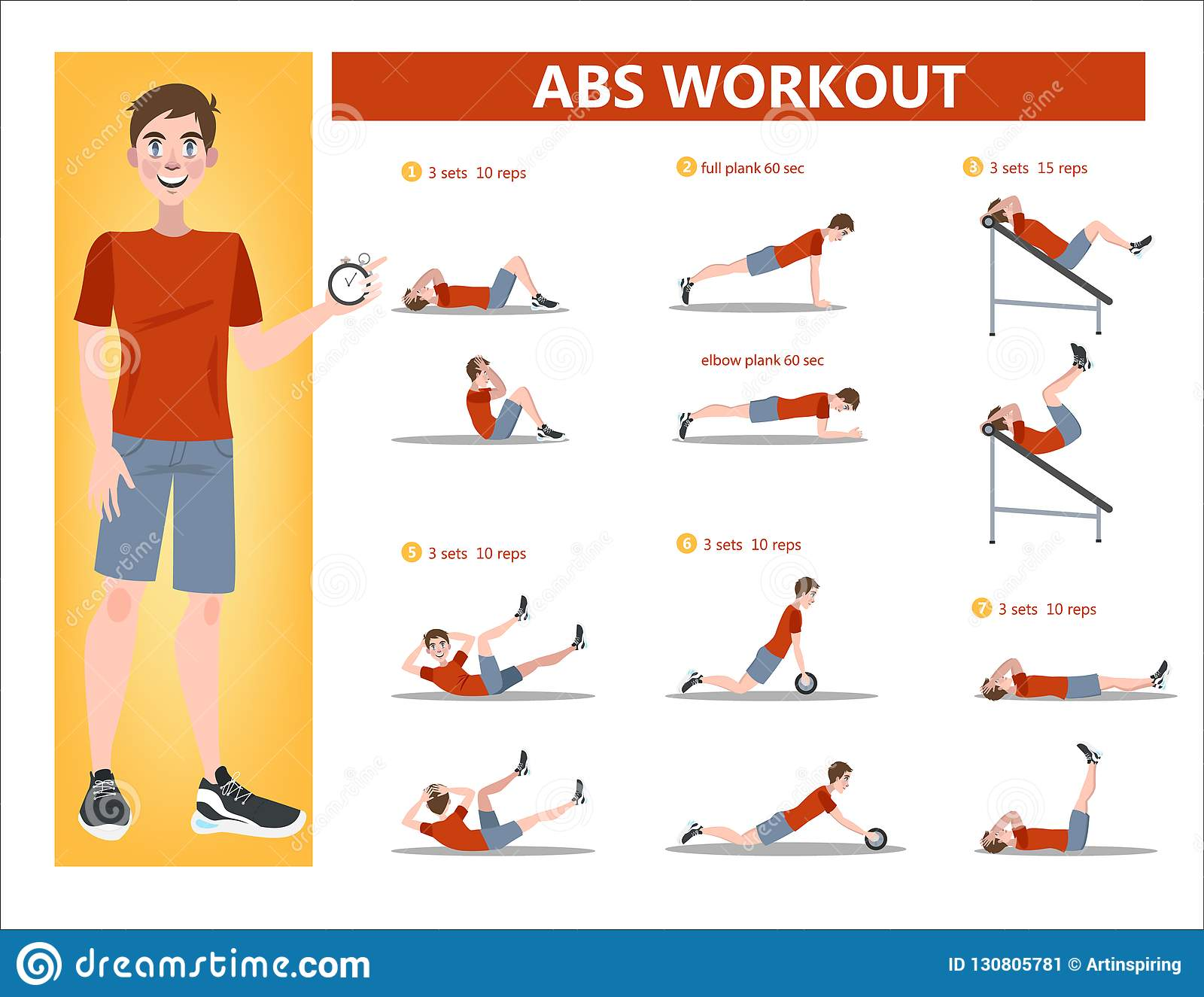 Abs Workout For Men Exercise For Perfect Body Stock