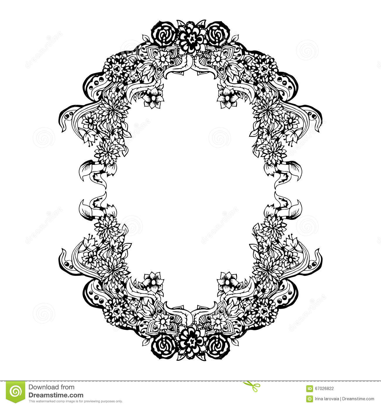 Abstract Black And White Floral Frame Vector Illustration