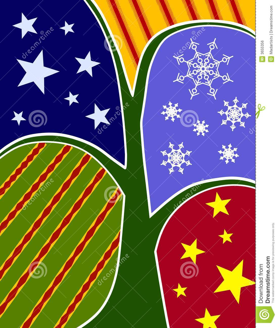 Abstract Christmas Tree Collage Card Royalty Free Stock