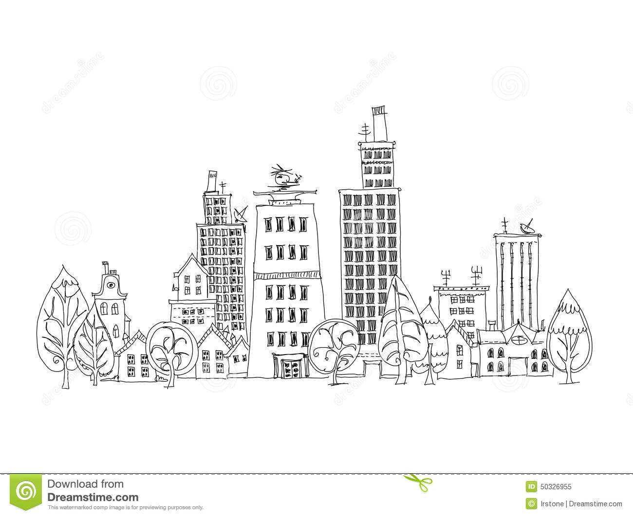 Abstract City View Business Aria Sketch Collection Stock