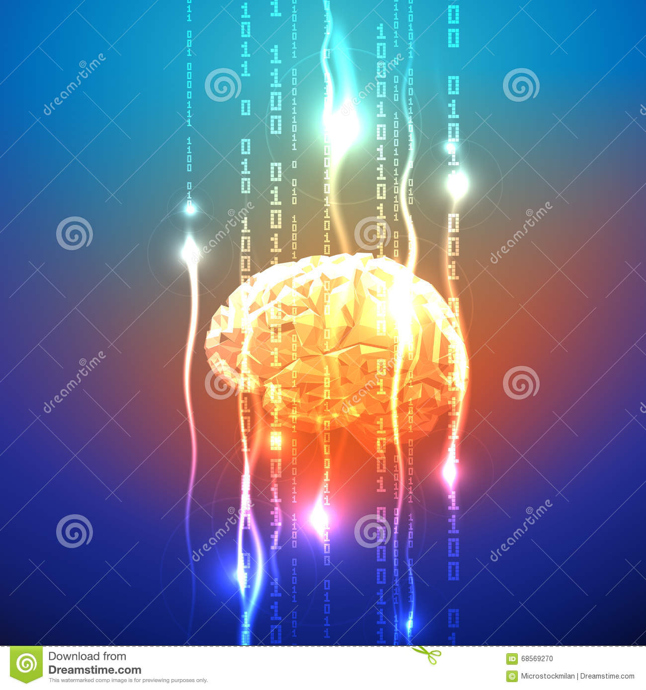 Abstract Concept Of Human Brain Activity Stock Vector