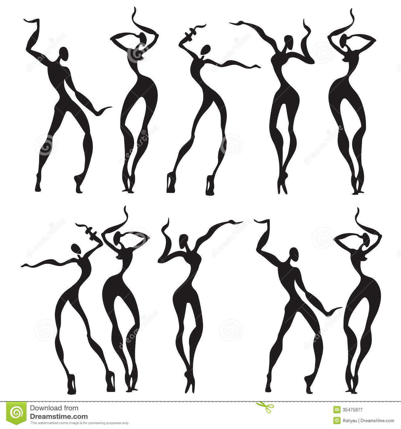 Abstract Dancing Figures Stock Illustration Illustration