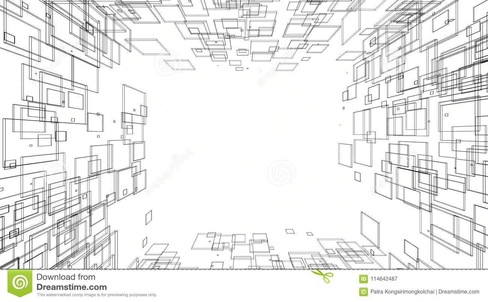 Architectural Design Blueprint Drawing 3d Cartoon Vector