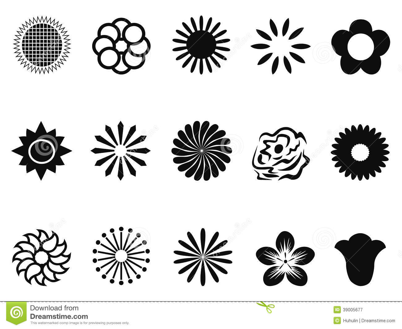 Abstract Flower Icons Stock Vector