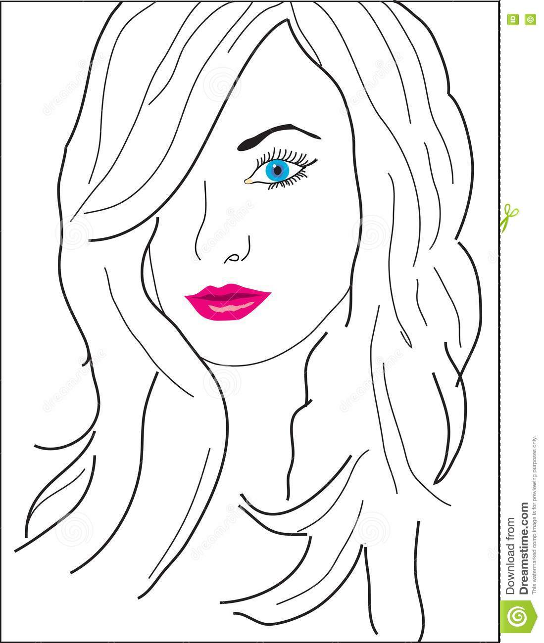 An Abstract Girl S Face With Color Eyes And Lips Stock