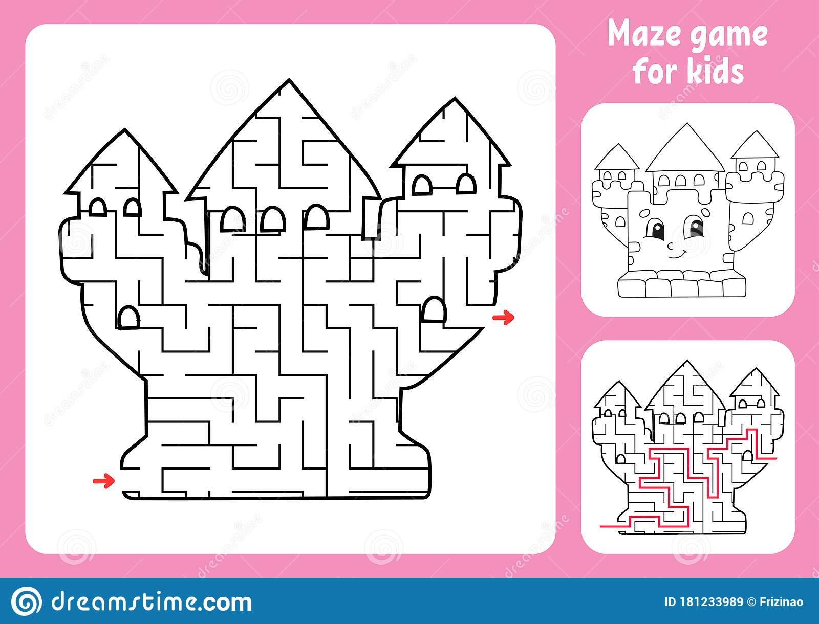Abstract Maze Royal Castle Game For Kids Puzzle For