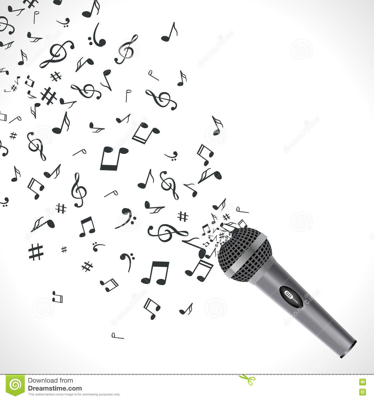 Abstract Music Background With Notes And Microphone