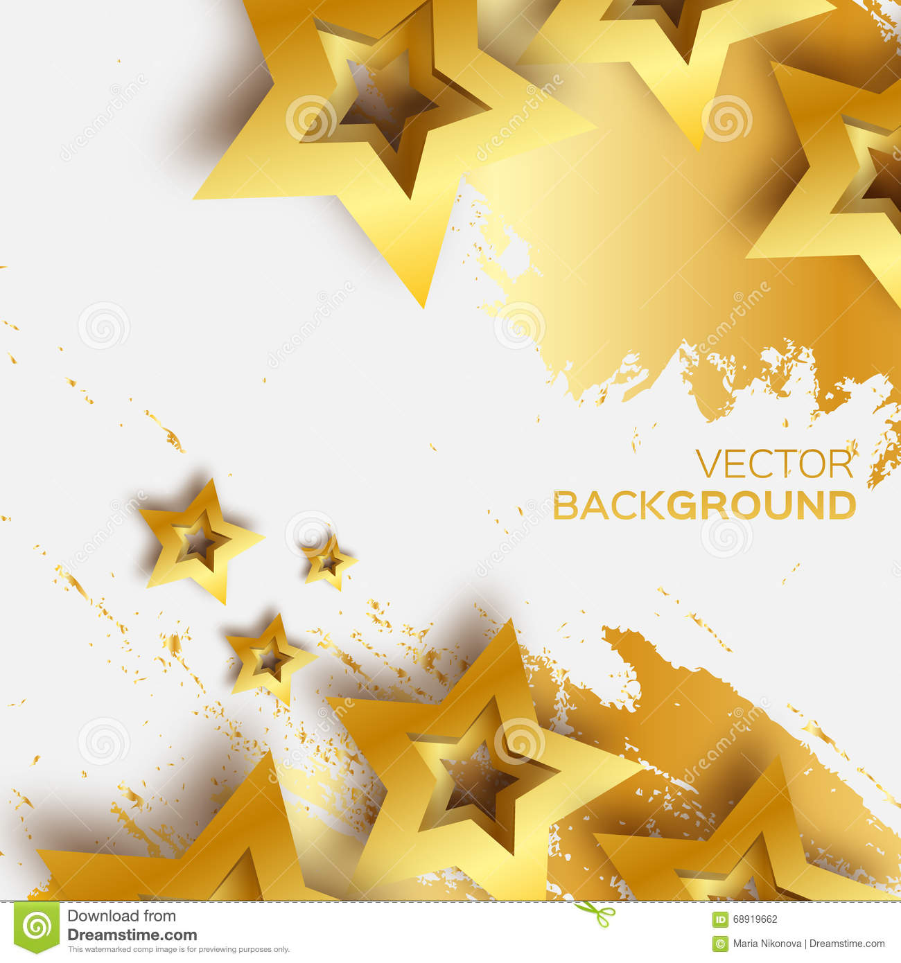 Abstract Origami Gold Stars On White Vector Background