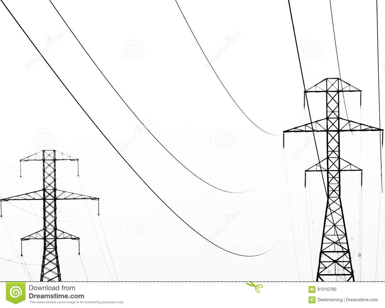 Abstract Of Power Lines In Black And White Stock Photo