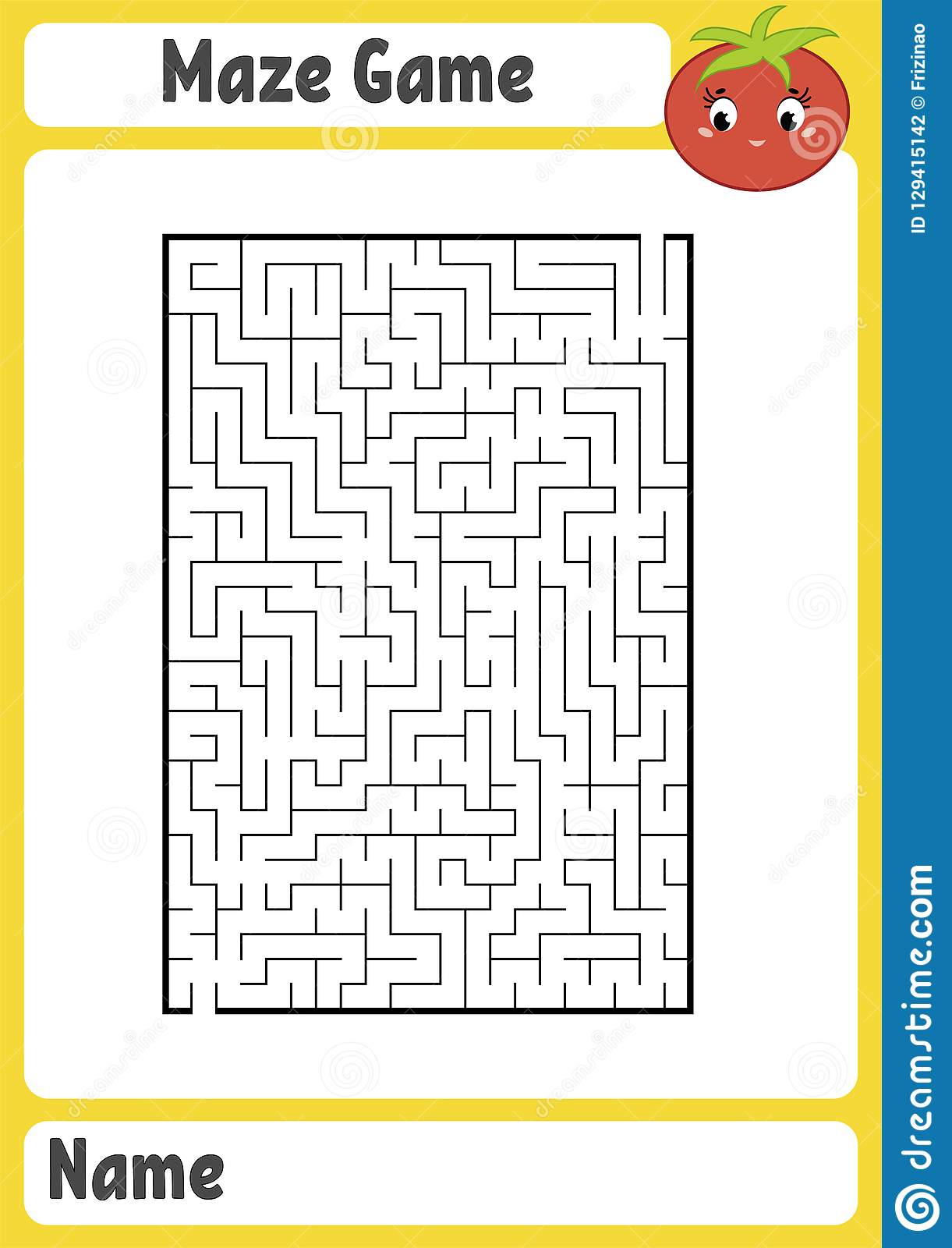 Abstract Rectangular Maze Kids Worksheets Activity Page