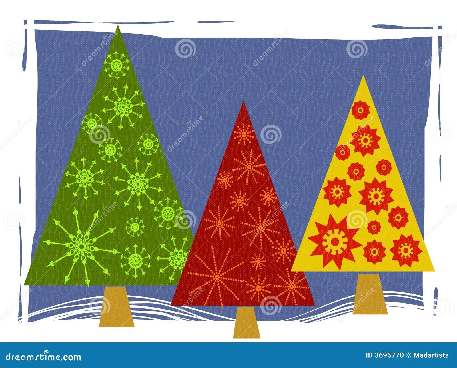 Abstract Retro Christmas Tree Card Stock Illustration