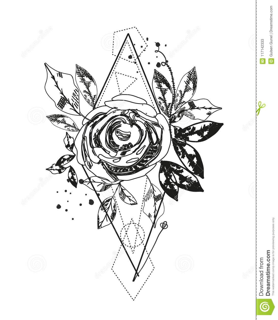 Abstract Rose Silhouette Tattoo Triangle Geometric Shapes