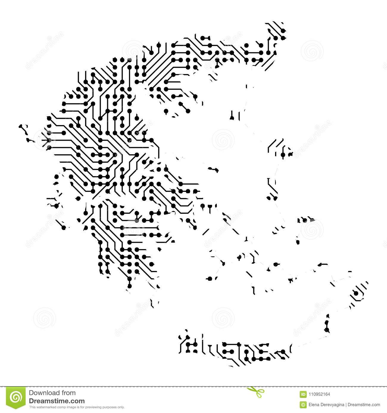Abstract Schematic Map Of Greece From The Black Printed