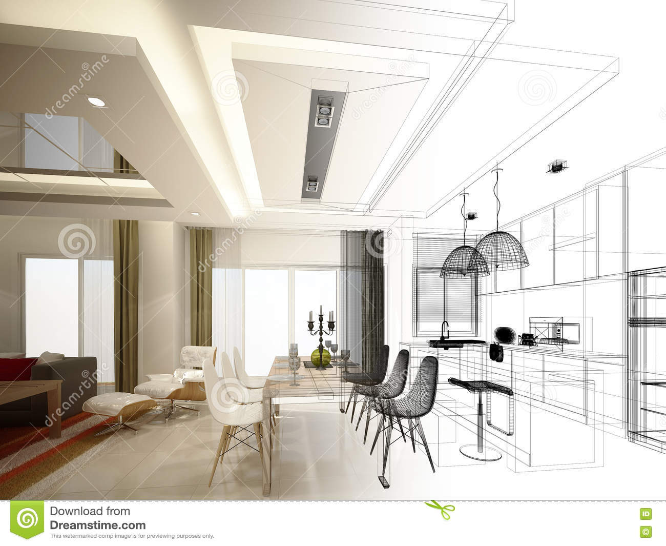 Abstract Sketch Design Of Interior Dining And Kitchen Room
