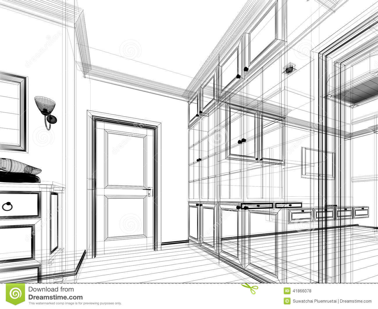 Abstract Sketch Design Of Interior Walk In Closet Stock Illustration
