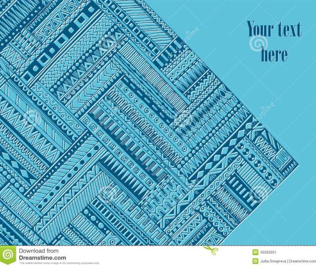 Abstract Striped Geometric Tribal Pattern Vector Blue And White Background Texture Can Be Used