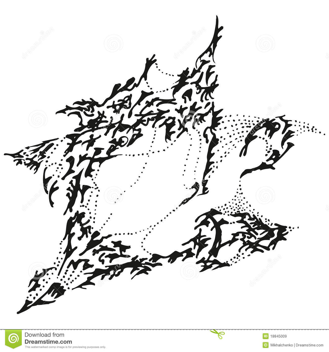 Abstract Stylized B Amp W Yawning Sparrow Royalty Free Stock