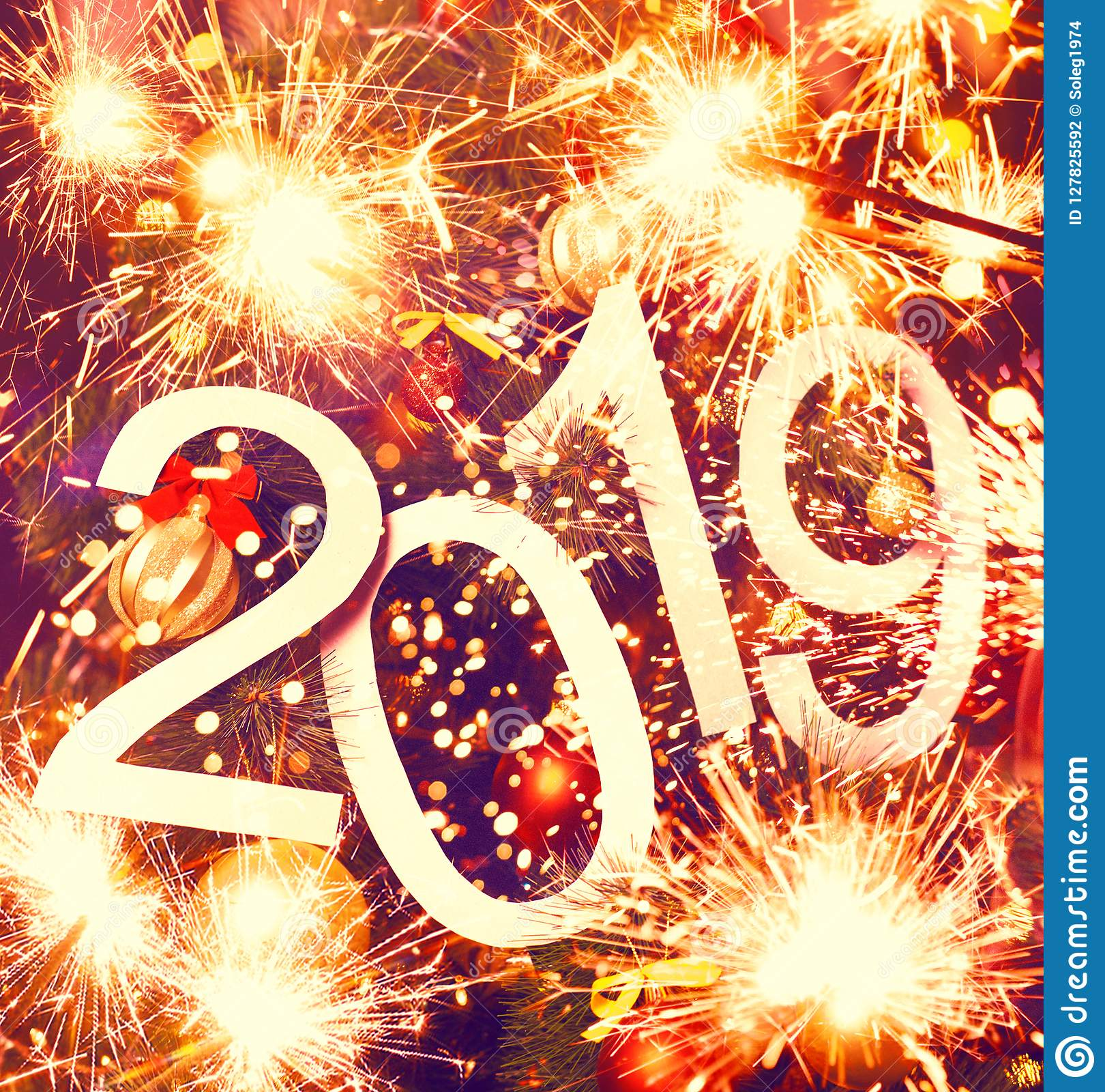2019 New Year Abstract Text On Colorful Background Of