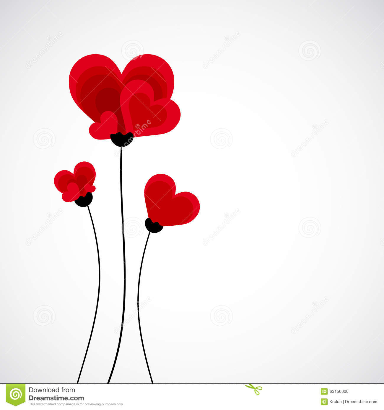 Abstract Vector Background Flowers Made With Heart Shape