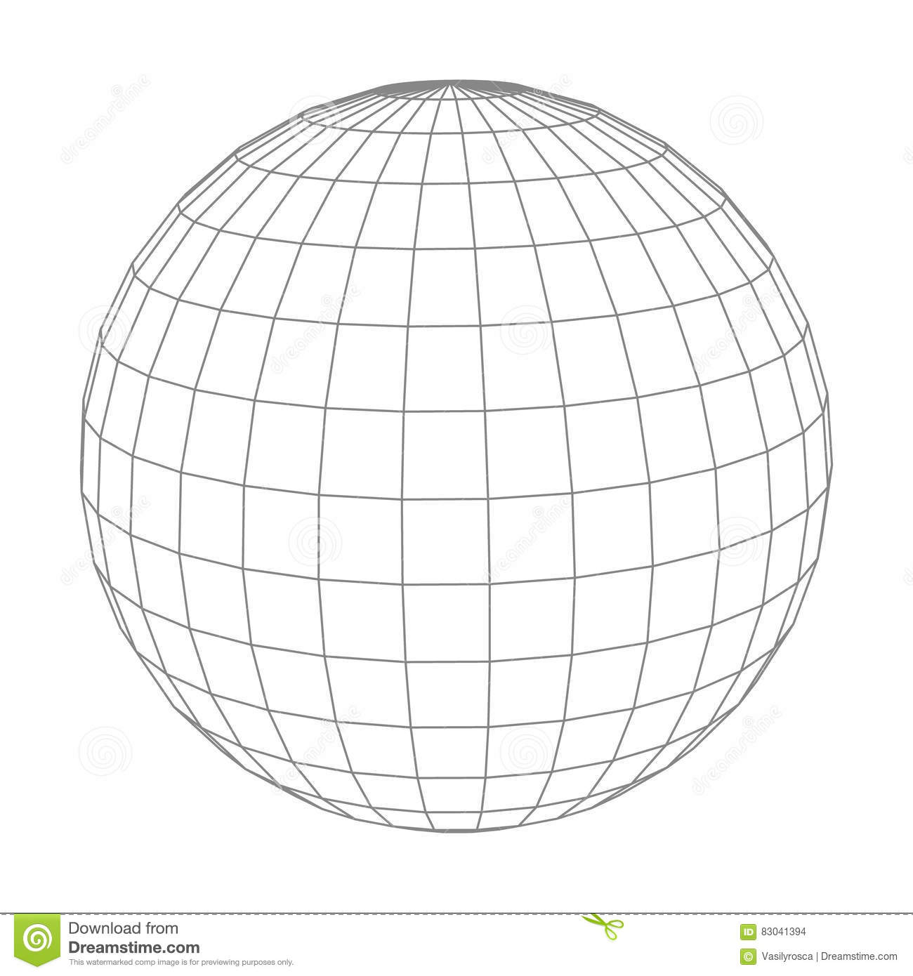Abstract Vector Wireframe Sphere Globe On White Stock