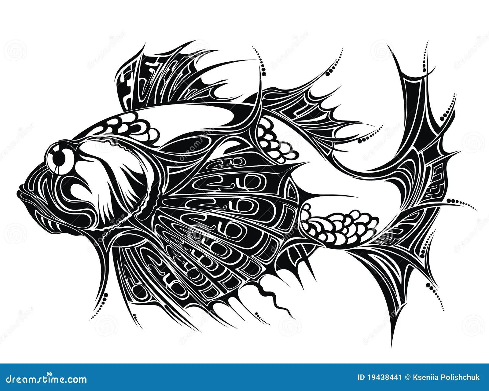 Abstrakt Tatuering For Bakgrundsdesignfisk Vektor