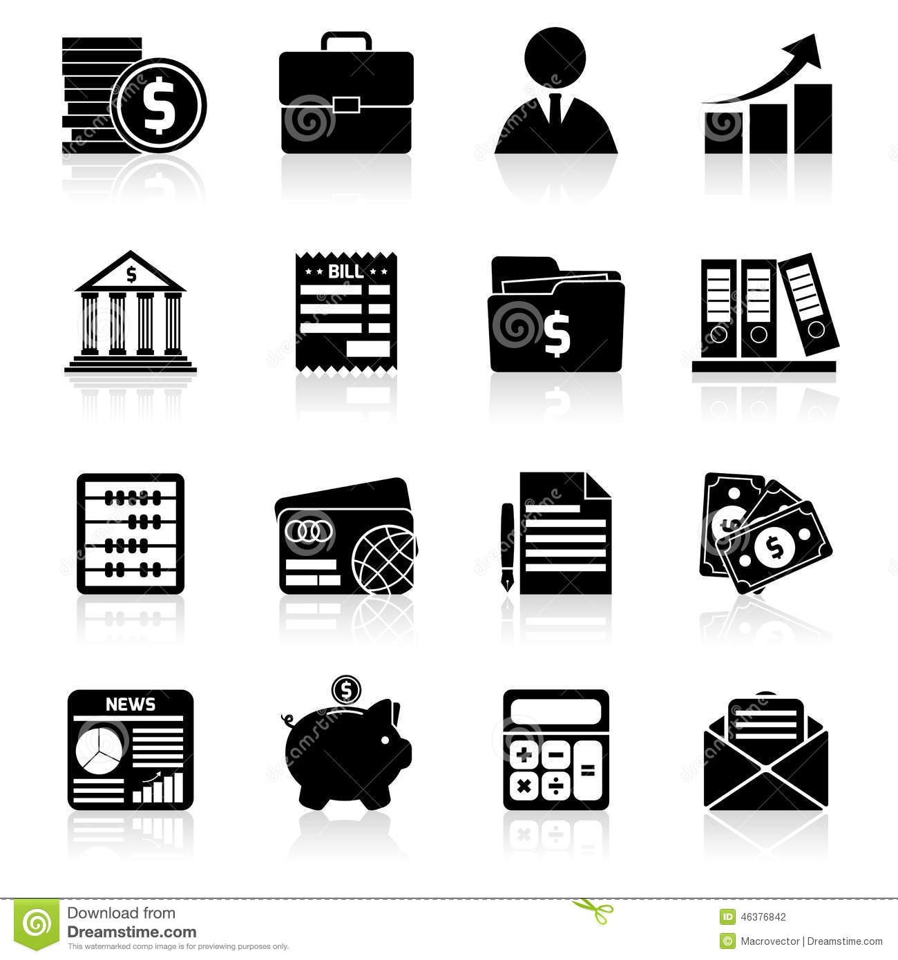Accounting Icons Set Black Stock Vector Illustration Of