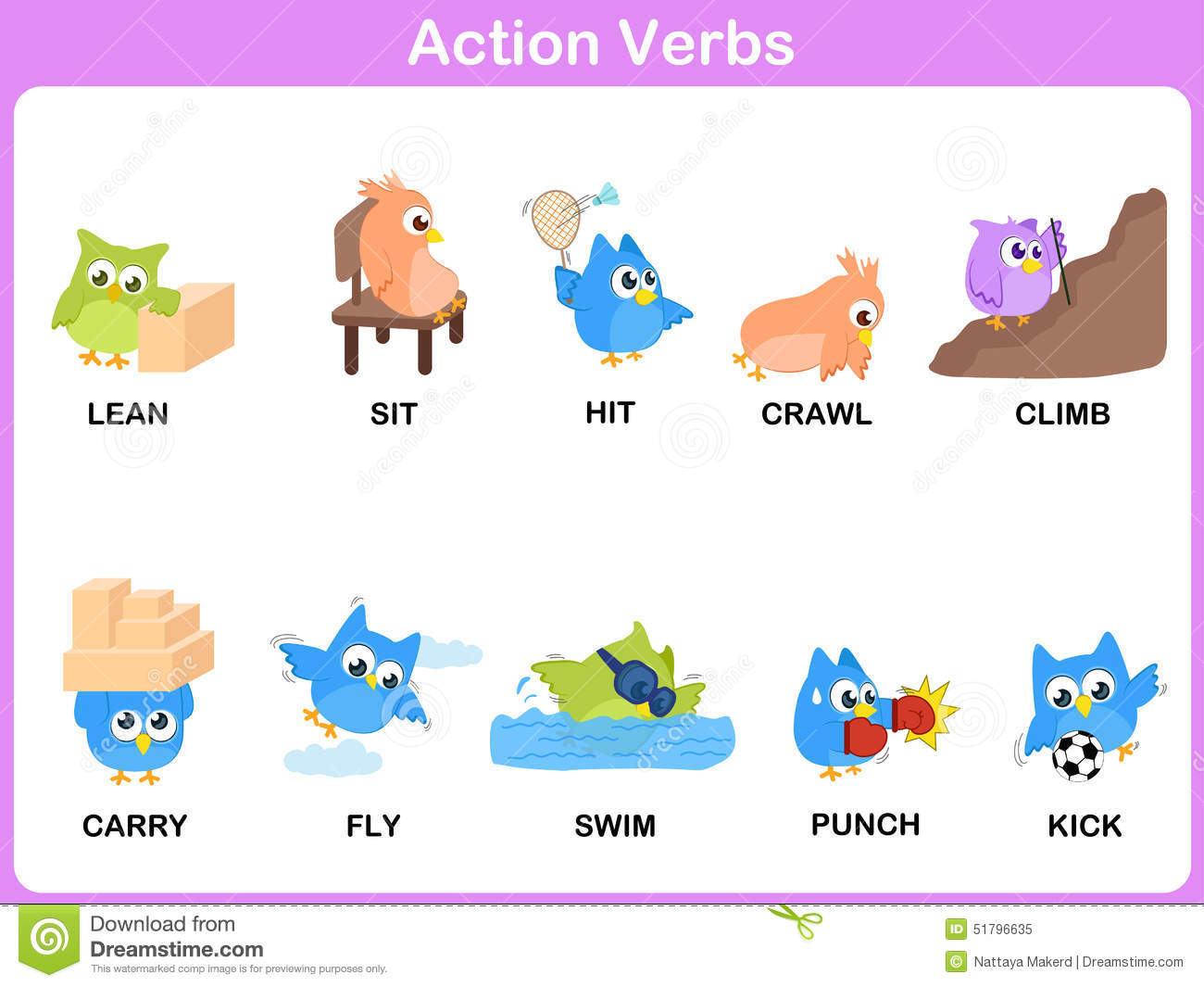Action Verbs Picture Dictionary Activity For Kids Stock