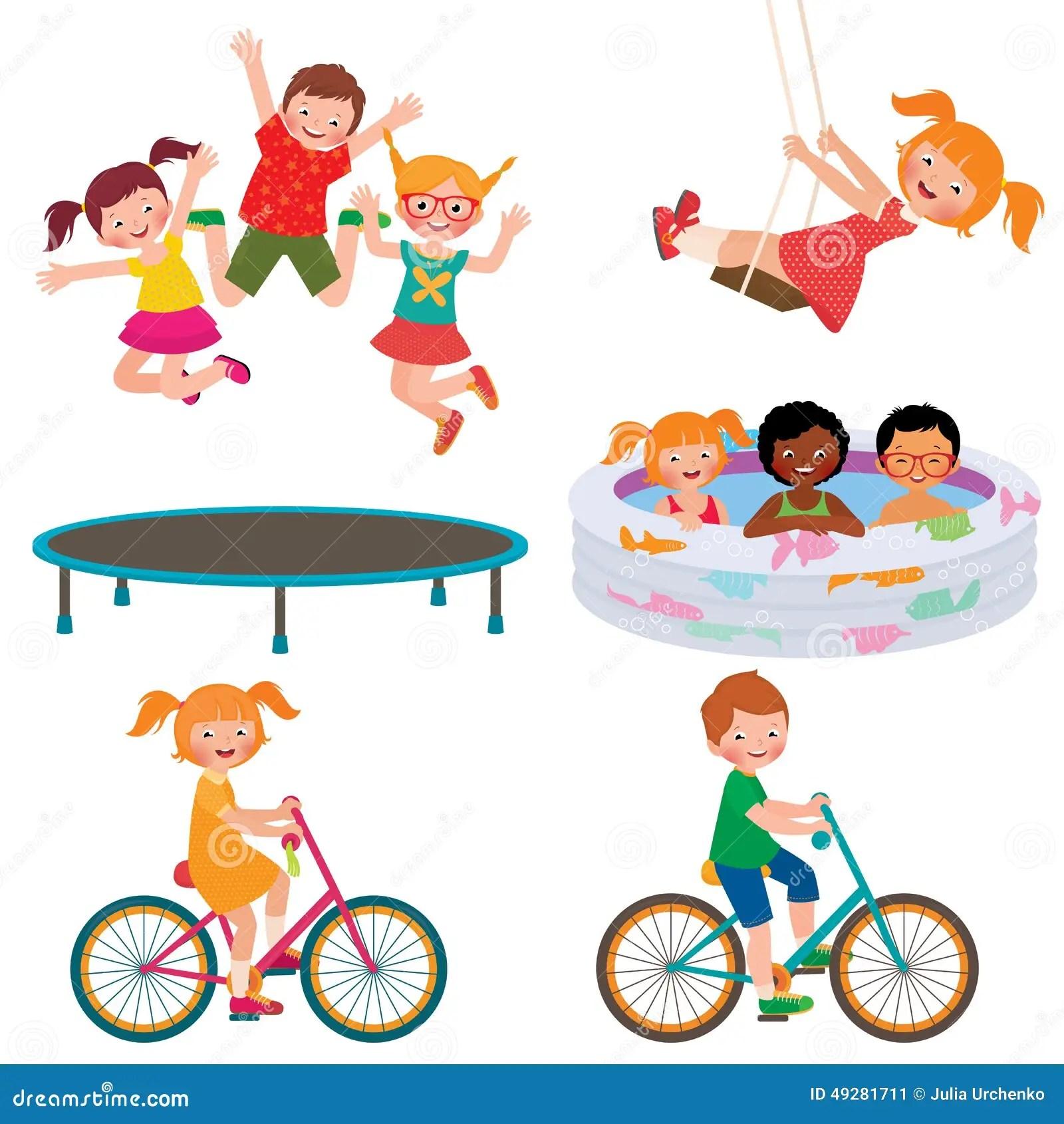 Activites D Enfants D Ete Illustration De Vecteur