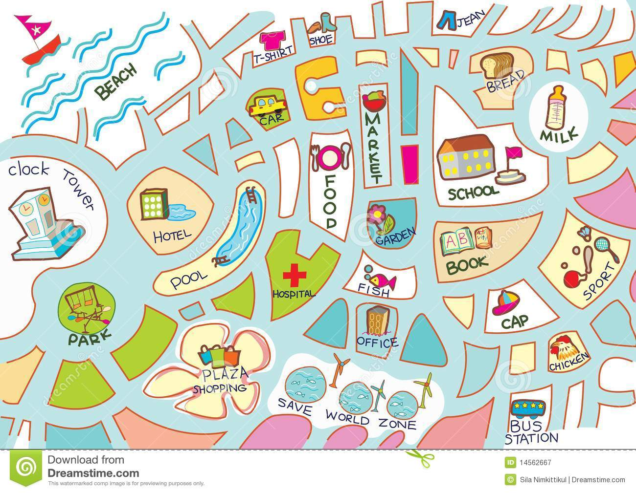 Activities Map For Kids Royalty Free Stock Photography