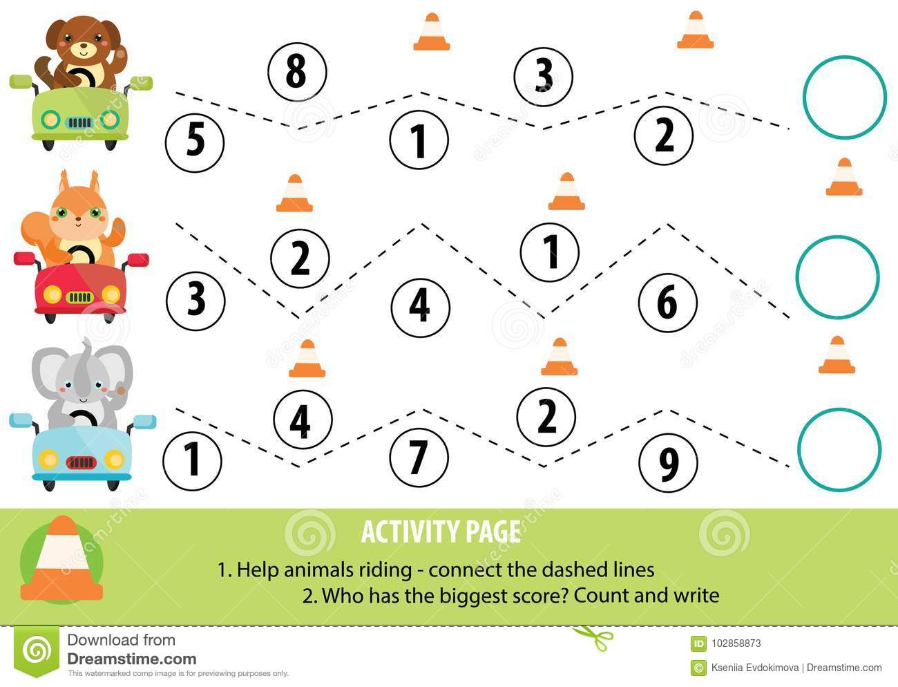 Activity Page For Children Handwriting Practice And Mathematics Stock Vector