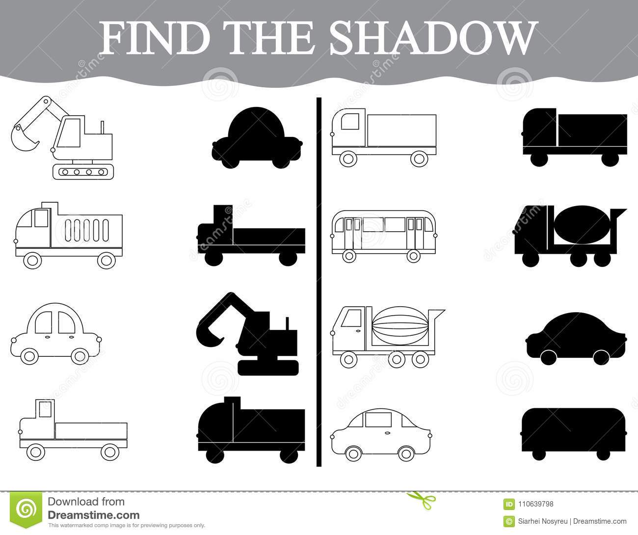 Activity For Preschool Children Find The Shadow And Color