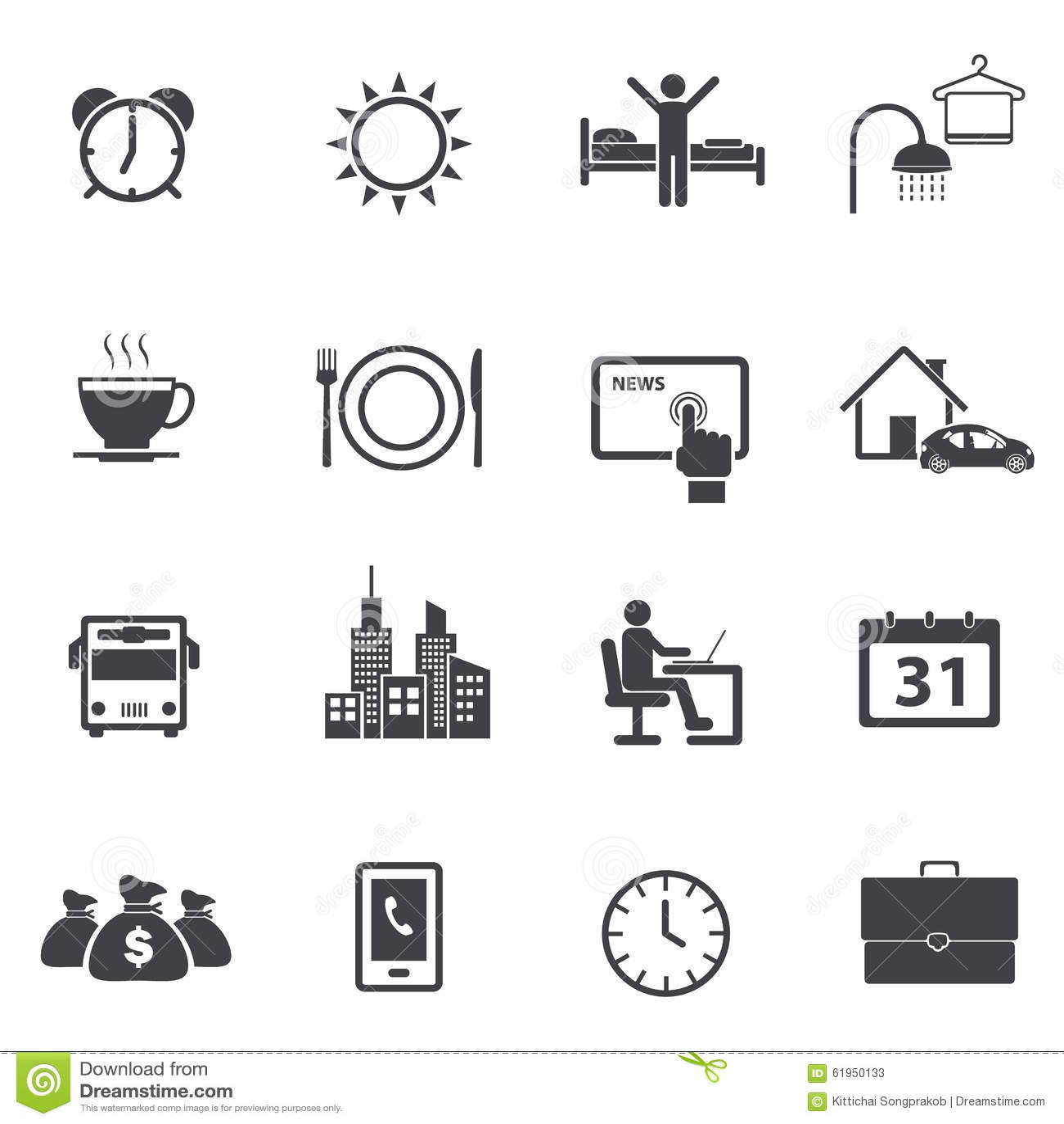 Activity Daily Routine Icons Set Stock Photo