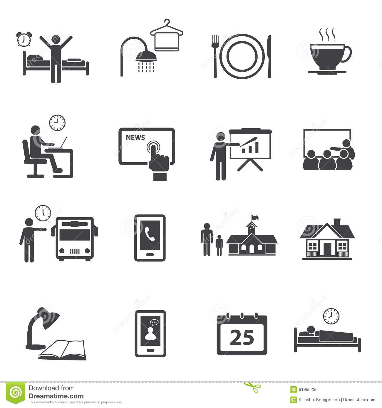 Activity Daily Routine Icons Set Stock Vector