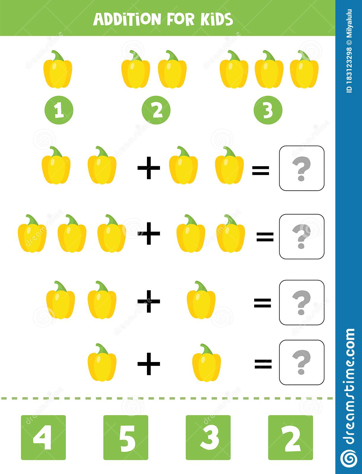 Addition With Cartoon Bulgarian Pepper Math Game For Kids