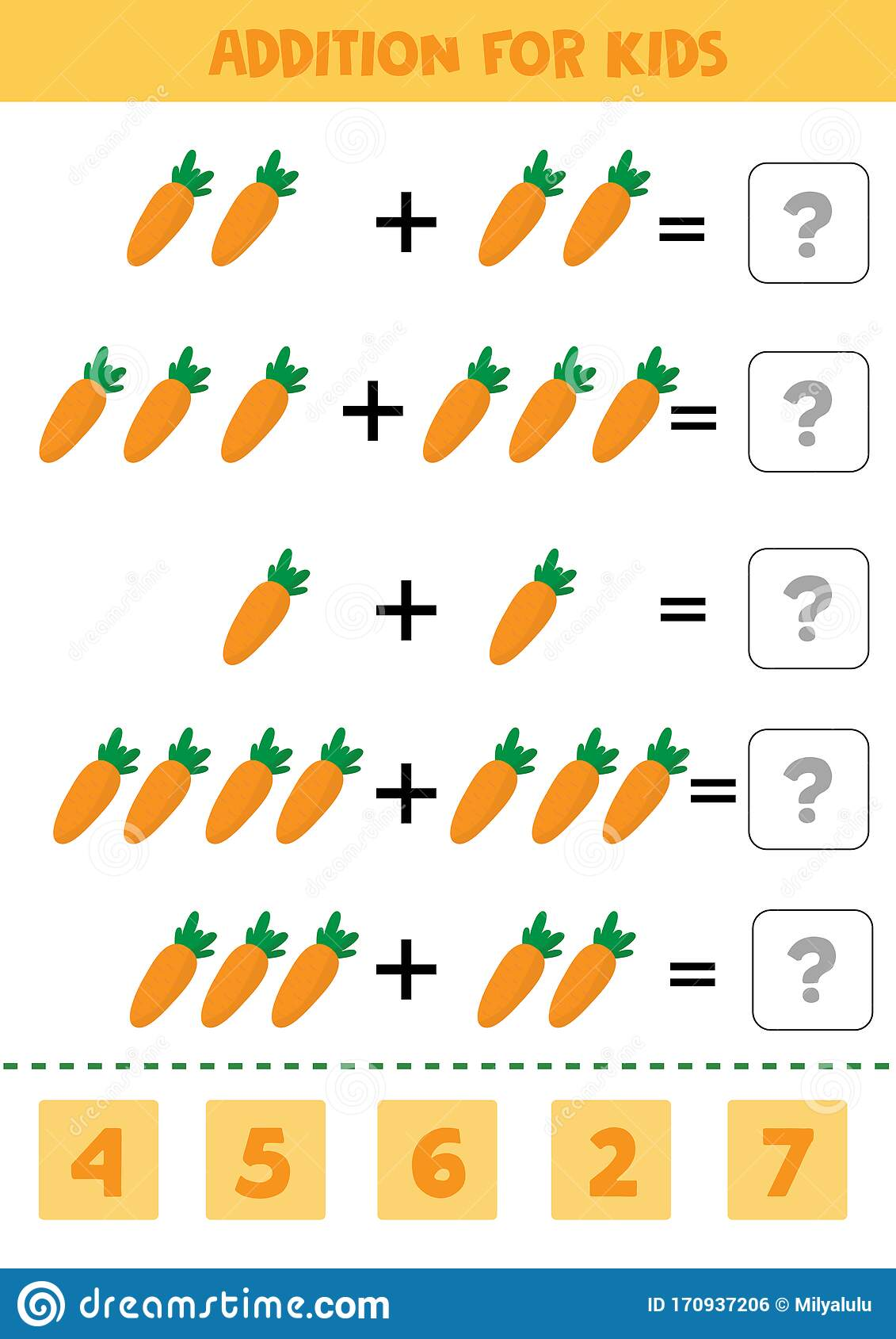 Addition For Kids With Carrots Math Game For Preschool