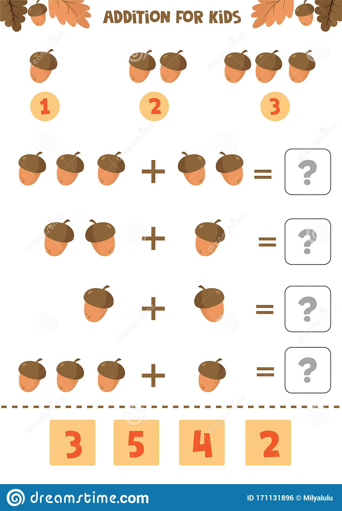 Addition For Kids Mathematical Game Counting Game