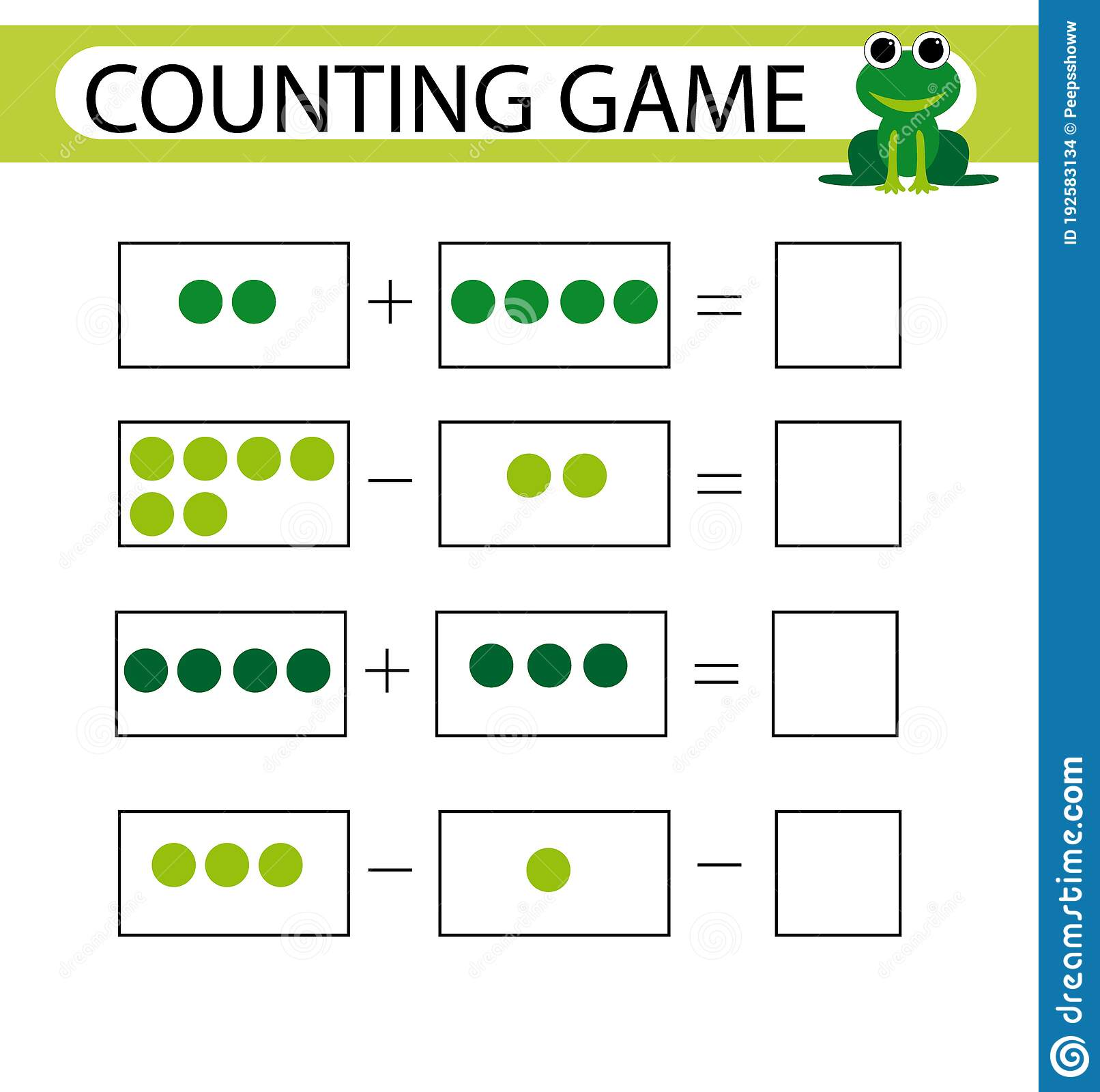 Counting Game Addition And Subtraction Task For Kids