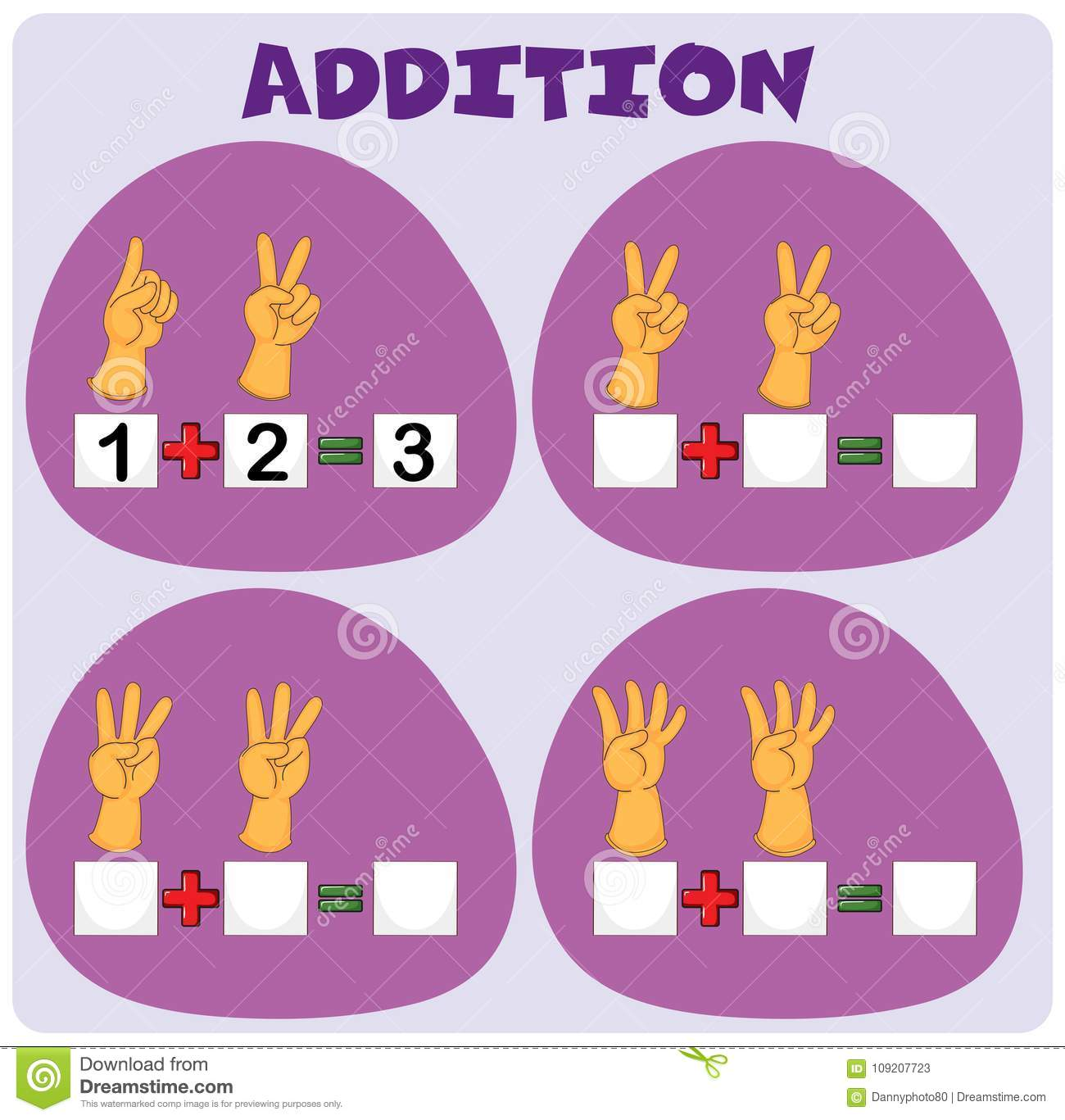 Addition Worksheet With Hand Gestures Stock Vector