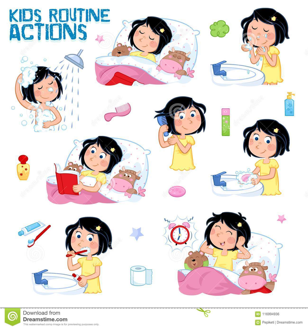 Daily Routine Of A Little Girl With Dark Hair